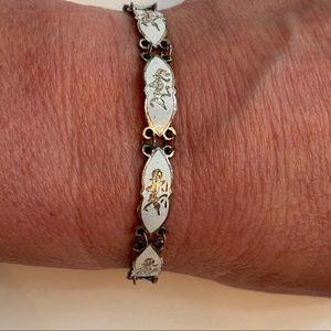Jewelry - BRACELET STERLING SILVER WHITE ENAMEL SIAM DANCERS